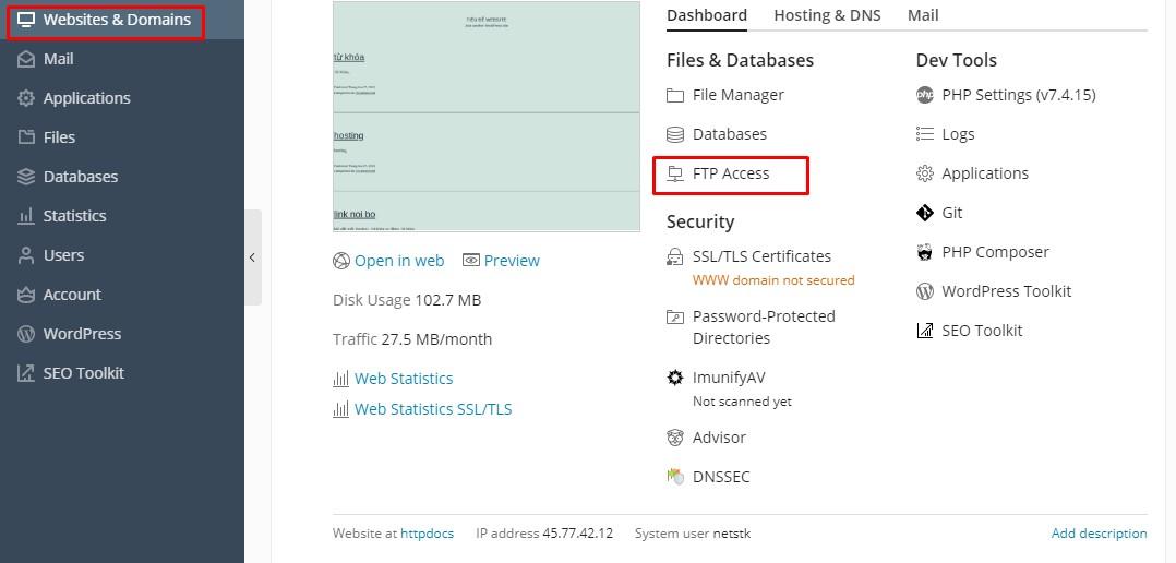 tạo thông tin đăng nhập FTP, SFTP của hosting