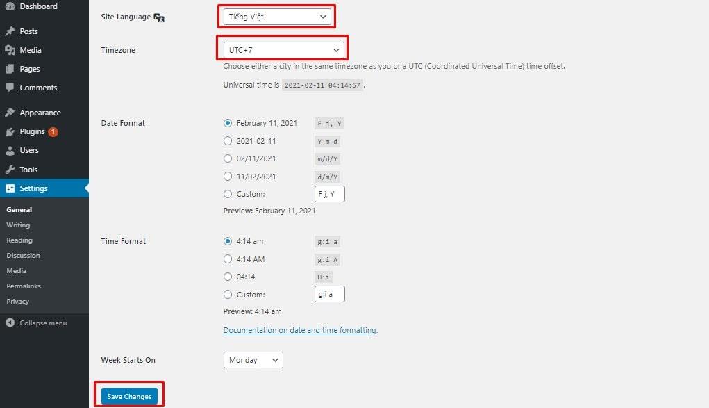 Đổi ngôn ngữ tiếng việt cho trang quản trị, đổi múi giờ cho website