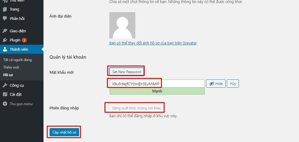 Thay đổi mật khẩu đăng nhập trang quản trị