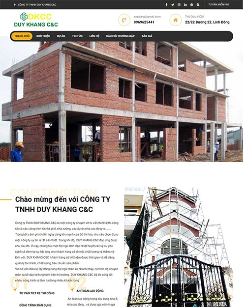 giao diện xây dựng