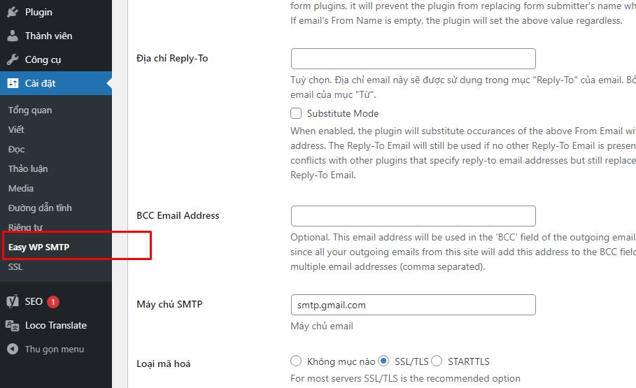 Hướng dẫn cài SMTP của gmail